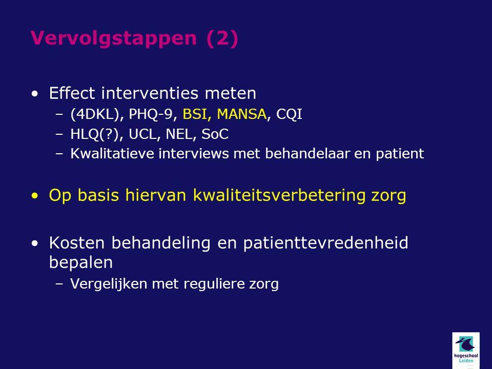 Vervolgstappen (2) Effect interventies meten –(4DKL), PHQ-9, BSI, MANSA, CQI –HLQ(?), UCL, NEL, SoC –Kwalitatieve interviews met behandelaar en patien