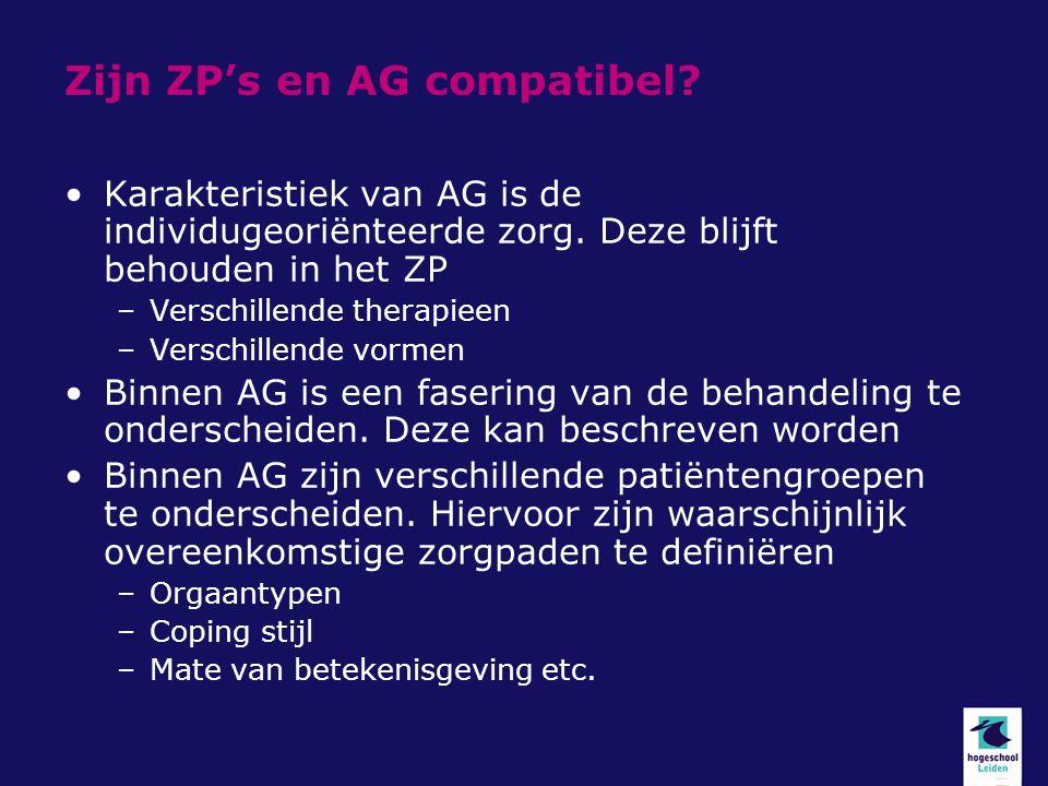 Zijn ZP's en AG compatibel? Karakteristiek van AG is de individugeoriënteerde zorg. Deze blijft behouden in het ZP –Verschillende therapieen –Verschil