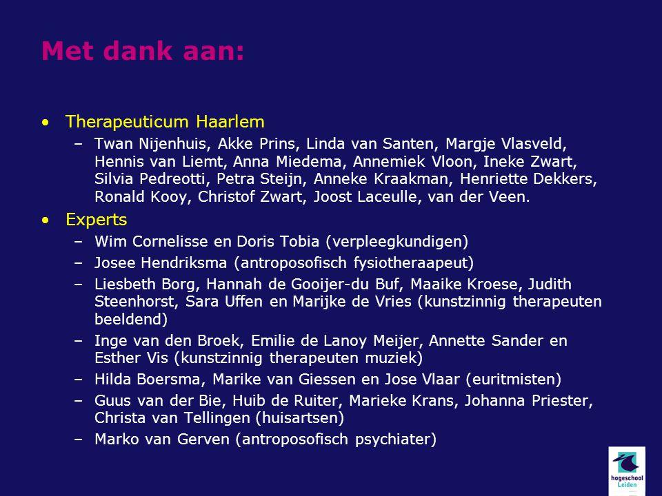 Met dank aan: Therapeuticum Haarlem –Twan Nijenhuis, Akke Prins, Linda van Santen, Margje Vlasveld, Hennis van Liemt, Anna Miedema, Annemiek Vloon, In