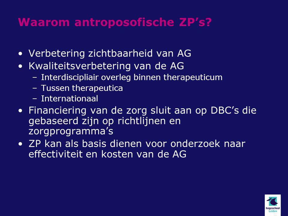 Waarom antroposofische ZP's? Verbetering zichtbaarheid van AG Kwaliteitsverbetering van de AG –Interdiscipliair overleg binnen therapeuticum –Tussen t