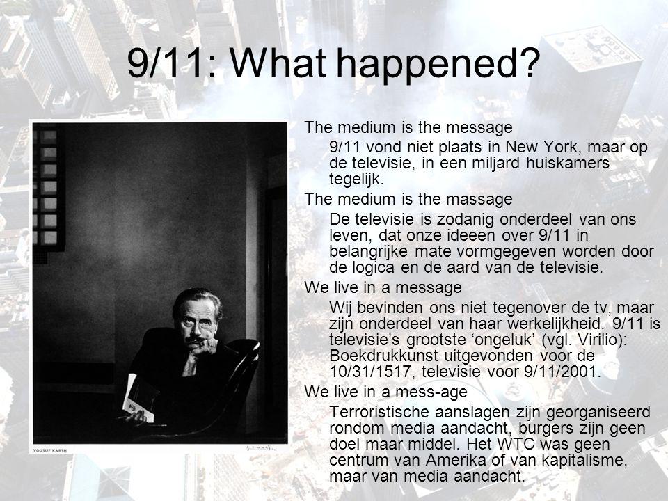 9/11: What happened? The medium is the message 9/11 vond niet plaats in New York, maar op de televisie, in een miljard huiskamers tegelijk. The medium