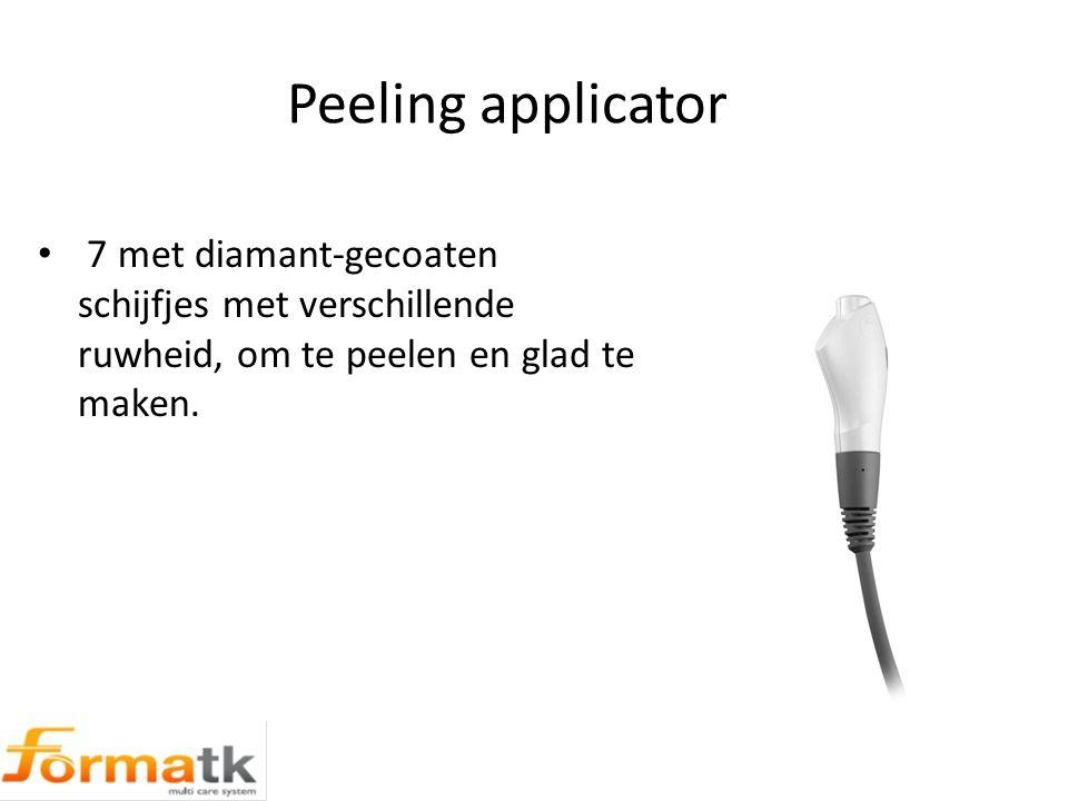 Peeling applicator 7 met diamant-gecoaten schijfjes met verschillende ruwheid, om te peelen en glad te maken.