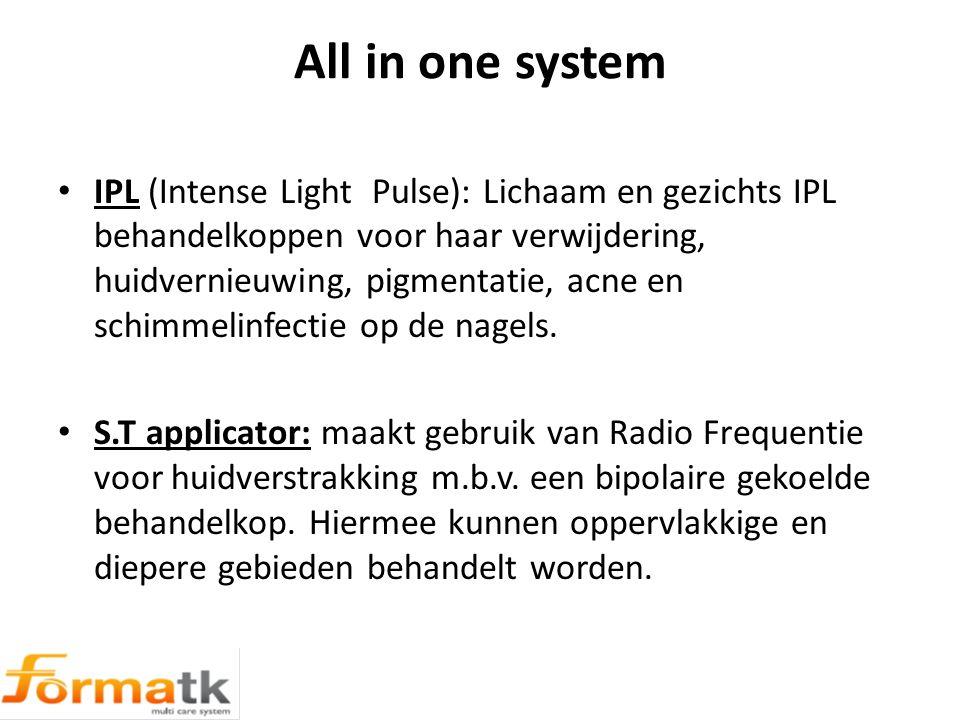 All in one system IPL (Intense Light Pulse): Lichaam en gezichts IPL behandelkoppen voor haar verwijdering, huidvernieuwing, pigmentatie, acne en schimmelinfectie op de nagels.