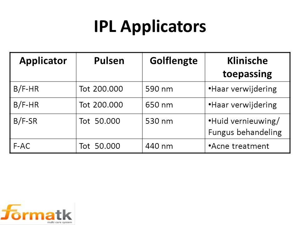 IPL Applicators ApplicatorPulsenGolflengteKlinische toepassing B/F-HRTot 200.000590 nm Haar verwijdering B/F-HRTot 200.000650 nm Haar verwijdering B/F-SRTot 50.000530 nm Huid vernieuwing/ Fungus behandeling F-ACTot 50.000440 nm Acne treatment