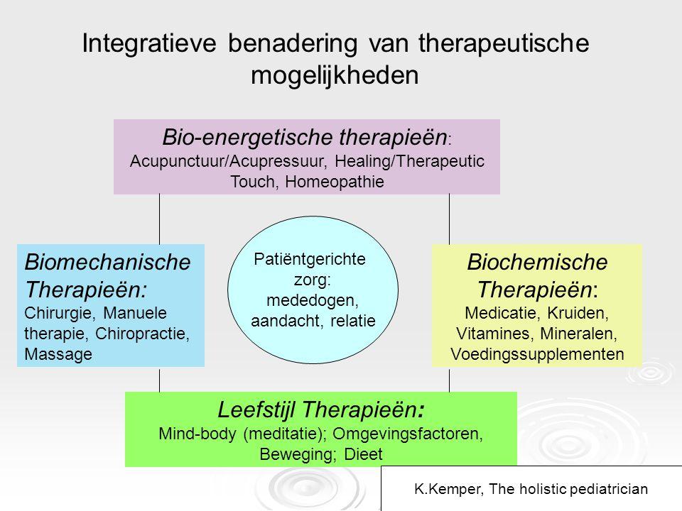 Patiëntgerichte zorg: mededogen, aandacht, relatie Bio-energetische therapieën : Acupunctuur/Acupressuur, Healing/Therapeutic Touch, Homeopathie Bioch