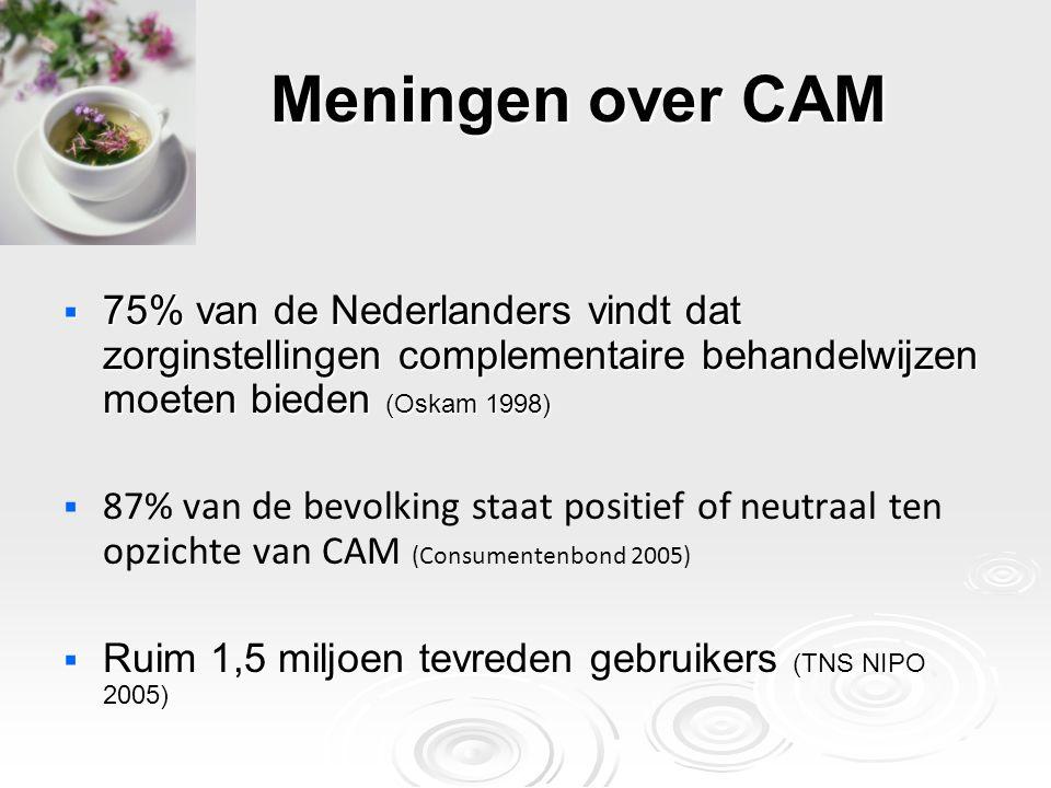 Meningen over CAM  75% van de Nederlanders vindt dat zorginstellingen complementaire behandelwijzen moeten bieden (Oskam 1998)   87% van de bevolki