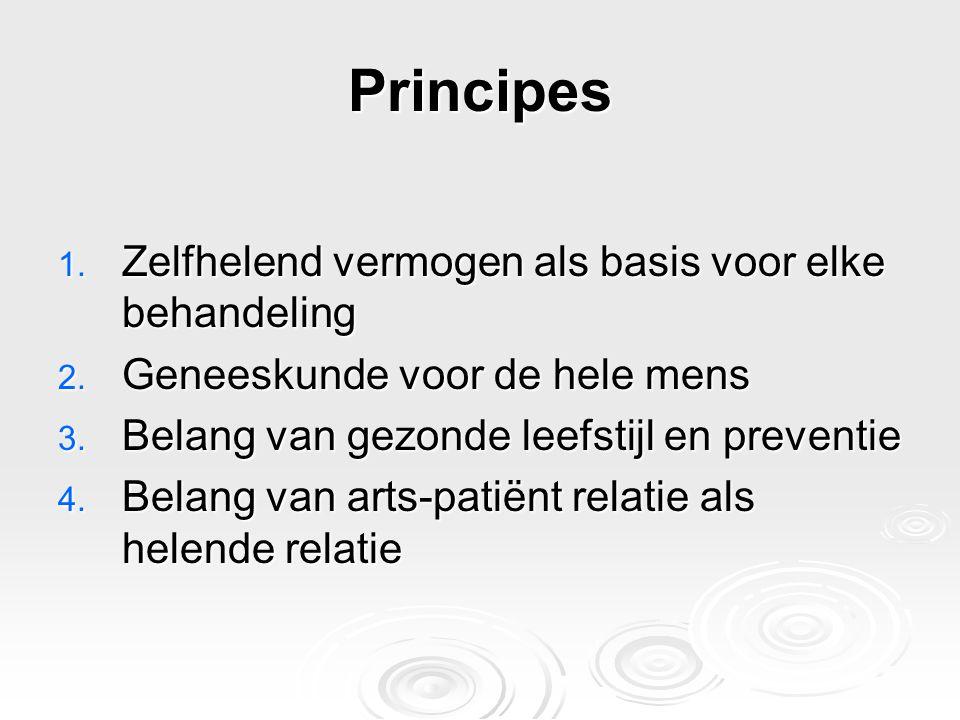 Principes 1. Zelfhelend vermogen als basis voor elke behandeling 2. Geneeskunde voor de hele mens 3. Belang van gezonde leefstijl en preventie 4. Bela