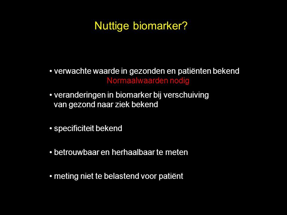 Nuttige biomarker? verwachte waarde in gezonden en patiënten bekend Normaalwaarden nodig veranderingen in biomarker bij verschuiving van gezond naar z