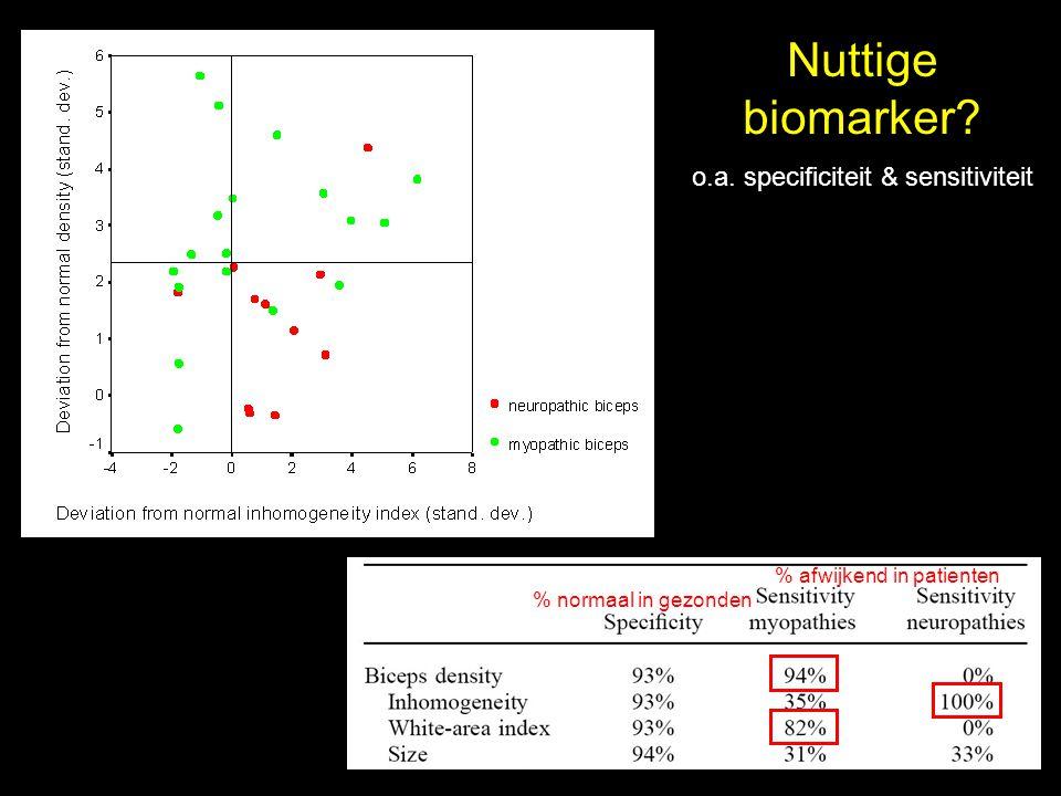 Nuttige biomarker? o.a. specificiteit & sensitiviteit % normaal in gezonden % afwijkend in patienten