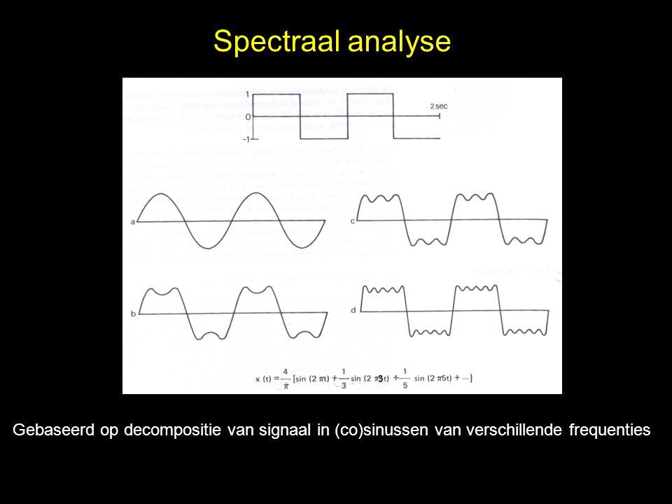 Spectraal analyse Gebaseerd op decompositie van signaal in (co)sinussen van verschillende frequenties 3