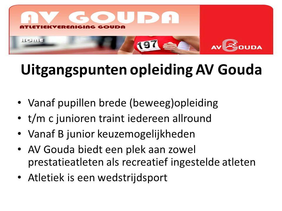 Uitgangspunten opleiding AV Gouda Vanaf pupillen brede (beweeg)opleiding t/m c junioren traint iedereen allround Vanaf B junior keuzemogelijkheden AV