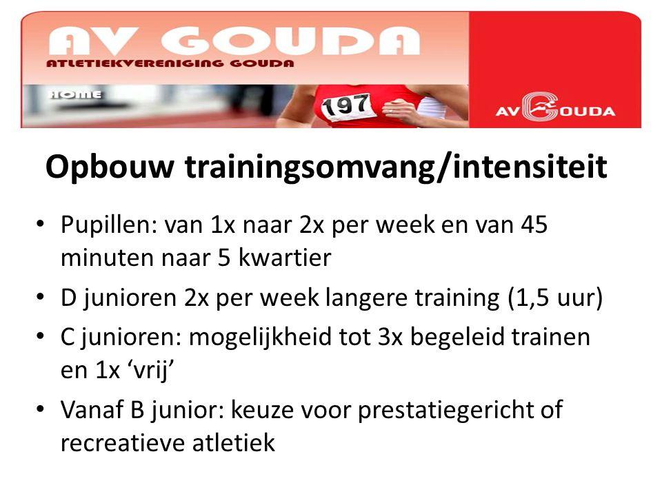 Opbouw trainingsomvang/intensiteit Pupillen: van 1x naar 2x per week en van 45 minuten naar 5 kwartier D junioren 2x per week langere training (1,5 uu