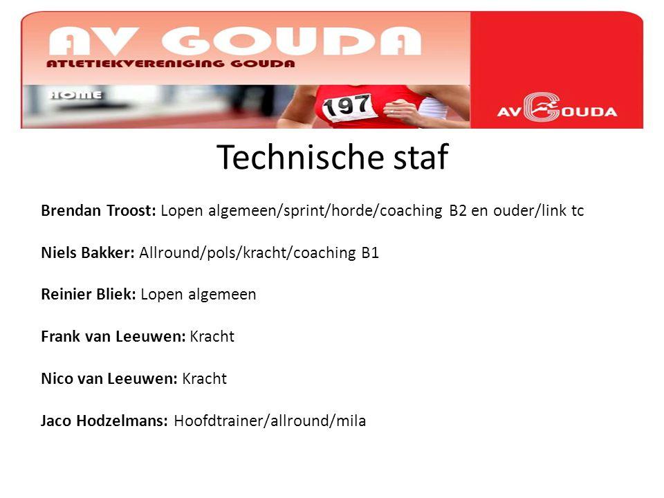 i Technische staf Brendan Troost: Lopen algemeen/sprint/horde/coaching B2 en ouder/link tc Niels Bakker: Allround/pols/kracht/coaching B1 Reinier Blie