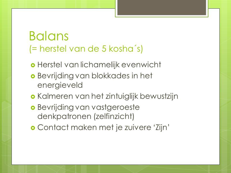 Balans (= herstel van de 5 kosha´s)  Herstel van lichamelijk evenwicht  Bevrijding van blokkades in het energieveld  Kalmeren van het zintuiglijk b