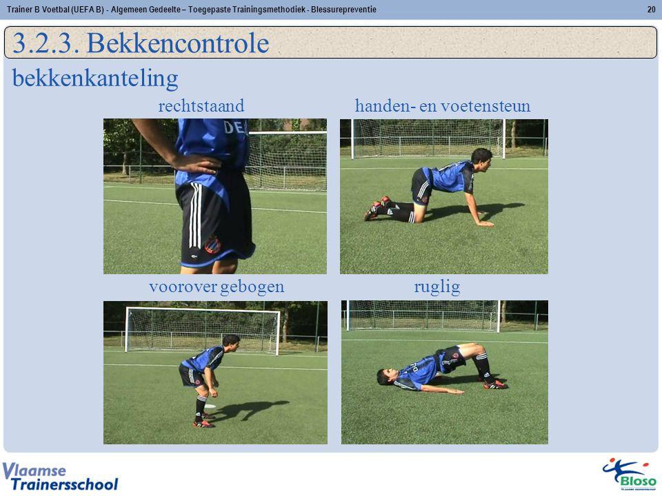 rechtstaand handen- en voetensteun voorover gebogenruglig 20Trainer B Voetbal (UEFA B) - Algemeen Gedeelte – Toegepaste Trainingsmethodiek - Blessurep