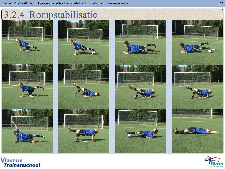 22Trainer B Voetbal (UEFA B) - Algemeen Gedeelte – Toegepaste Trainingsmethodiek - Blessurepreventie 3.2.4. Rompstabilisatie