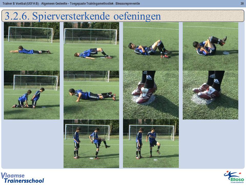 30Trainer B Voetbal (UEFA B) - Algemeen Gedeelte – Toegepaste Trainingsmethodiek - Blessurepreventie 3.2.6. Spierversterkende oefeningen