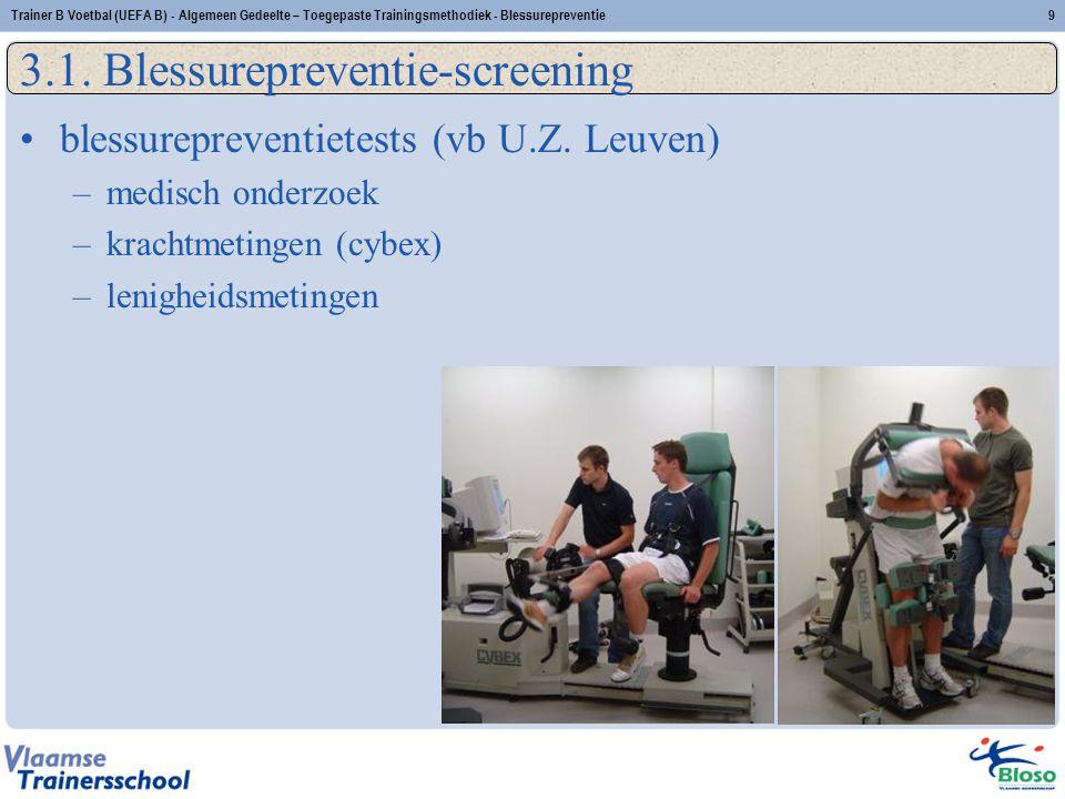3.1. Blessurepreventie-screening blessurepreventietests (vb U.Z. Leuven) –medisch onderzoek –krachtmetingen (cybex) –lenigheidsmetingen Trainer B Voet