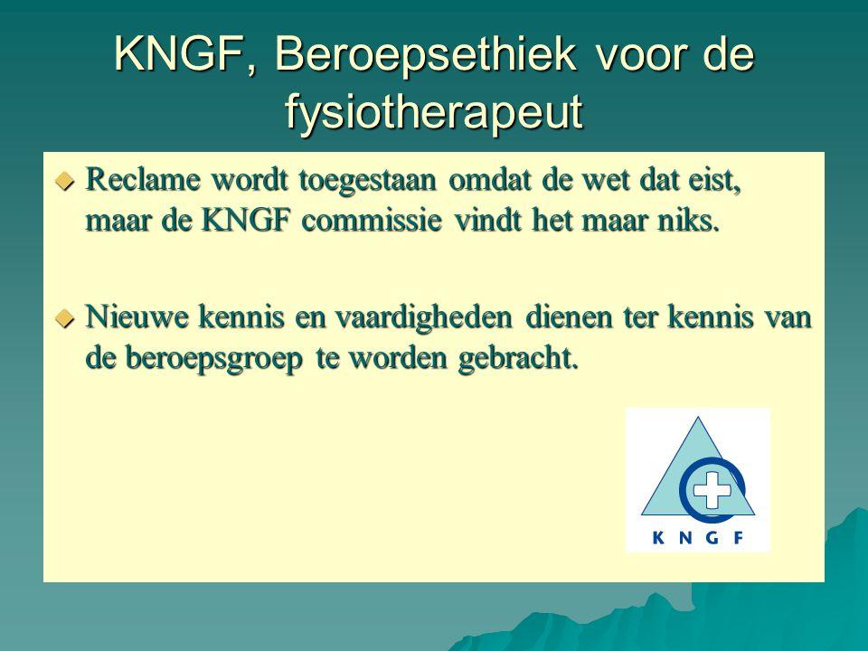 KNGF, Beroepsethiek voor de fysiotherapeut  Reclame wordt toegestaan omdat de wet dat eist, maar de KNGF commissie vindt het maar niks.  Nieuwe kenn