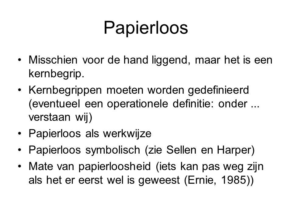 Papierloos Misschien voor de hand liggend, maar het is een kernbegrip. Kernbegrippen moeten worden gedefinieerd (eventueel een operationele definitie: