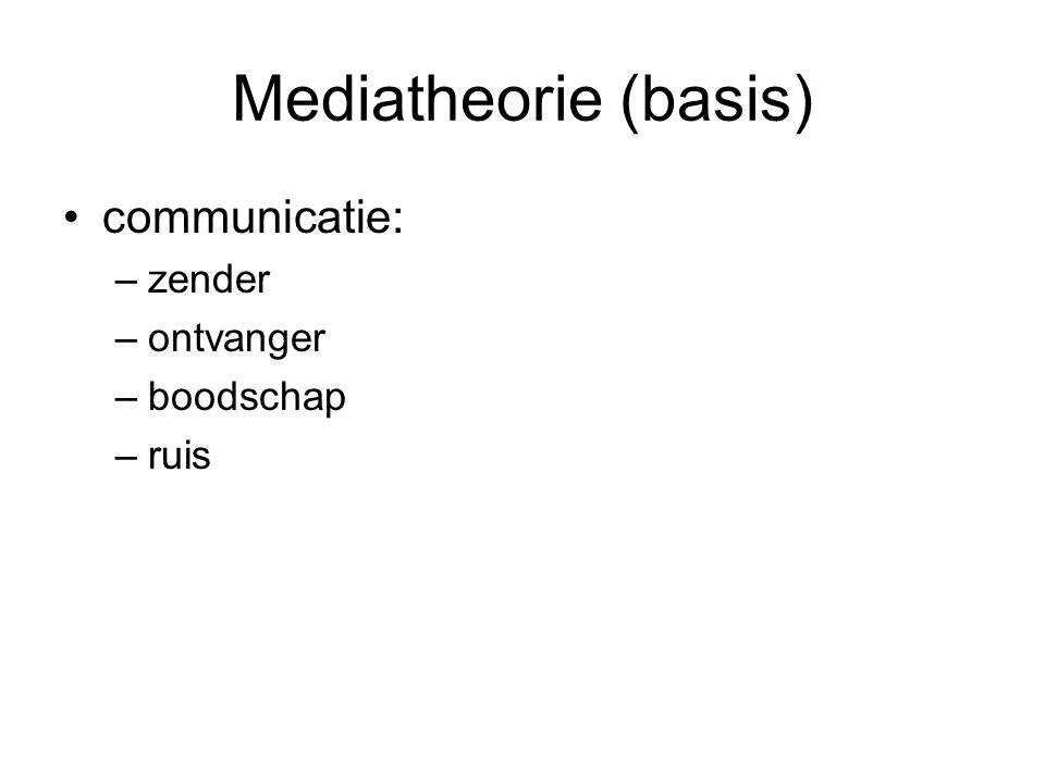 Mediatheorie (basis) communicatie: –zender –ontvanger –boodschap –ruis