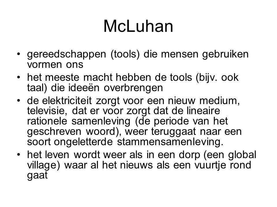 McLuhan gereedschappen (tools) die mensen gebruiken vormen ons het meeste macht hebben de tools (bijv. ook taal) die ideeën overbrengen de elektricite