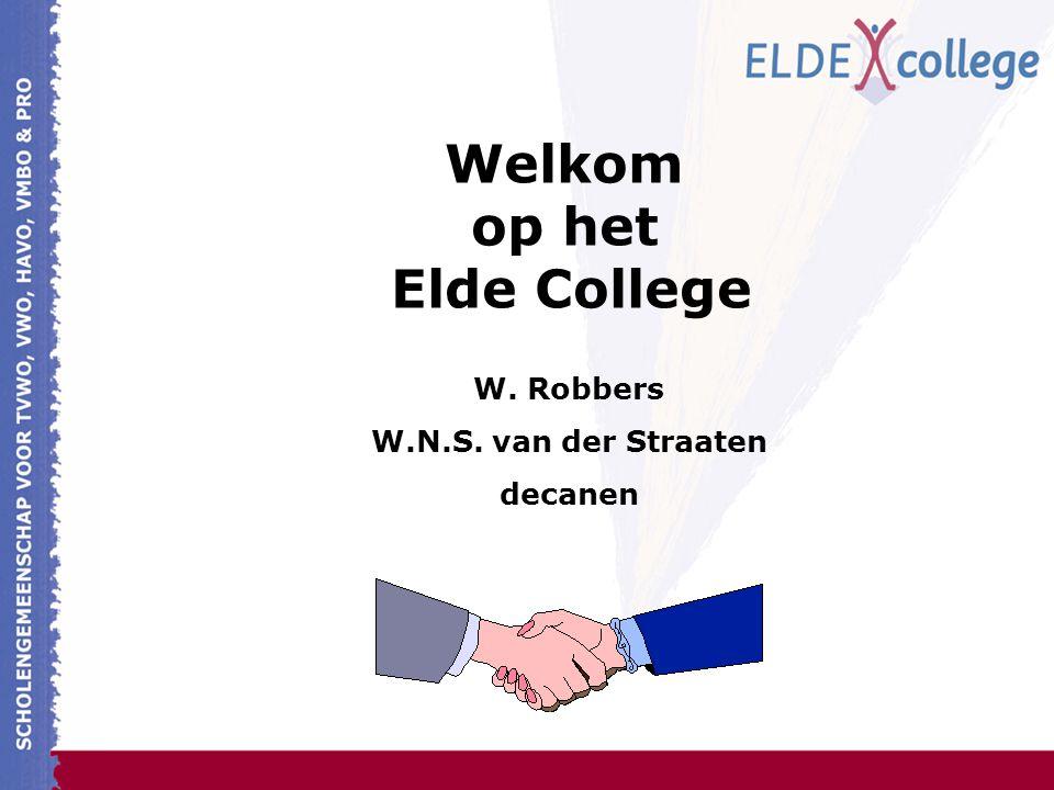 Welkom op het Elde College W. Robbers W.N.S. van der Straaten decanen