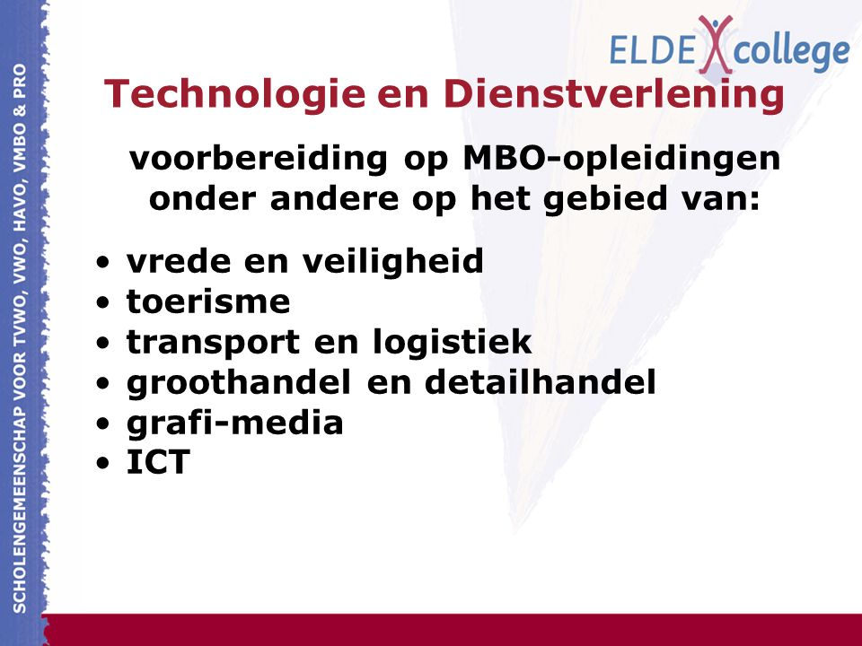Technologie en Dienstverlening voorbereiding op MBO-opleidingen onder andere op het gebied van: vrede en veiligheid toerisme transport en logistiek groothandel en detailhandel grafi-media ICT