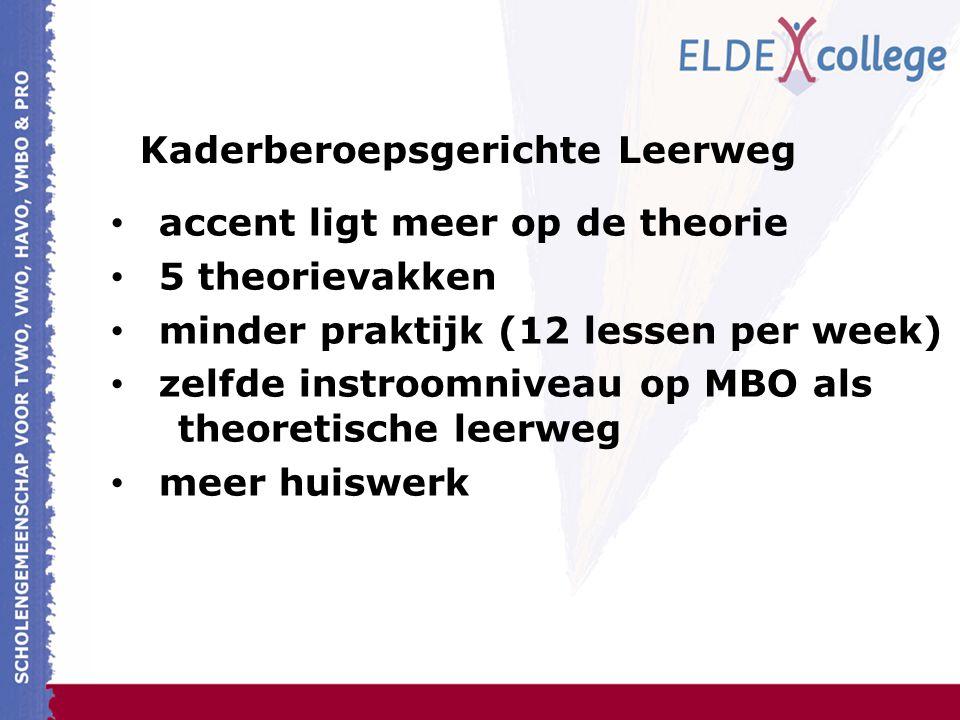 Kaderberoepsgerichte Leerweg accent ligt meer op de theorie 5 theorievakken minder praktijk (12 lessen per week) zelfde instroomniveau op MBO als theoretische leerweg meer huiswerk