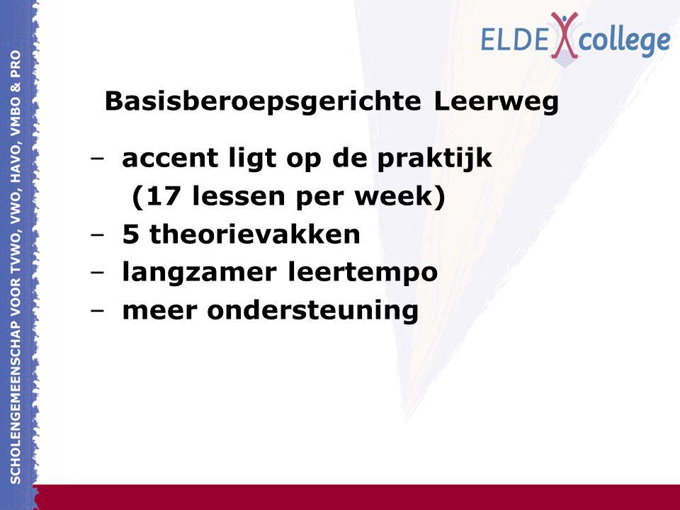 Basisberoepsgerichte Leerweg –accent ligt op de praktijk (17 lessen per week) –5 theorievakken –langzamer leertempo –meer ondersteuning