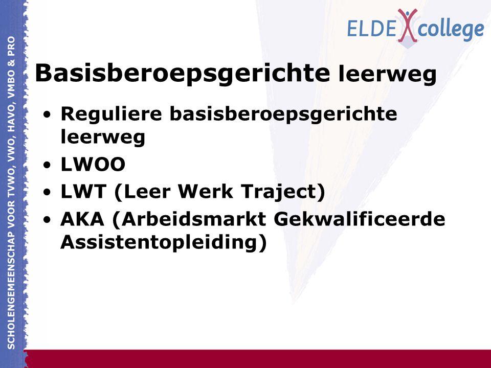 Basisberoepsgerichte leerweg Reguliere basisberoepsgerichte leerweg LWOO LWT (Leer Werk Traject) AKA (Arbeidsmarkt Gekwalificeerde Assistentopleiding)