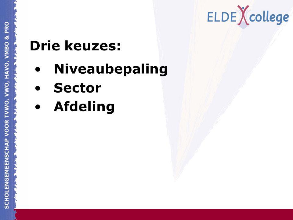 Drie keuzes: Niveaubepaling Sector Afdeling