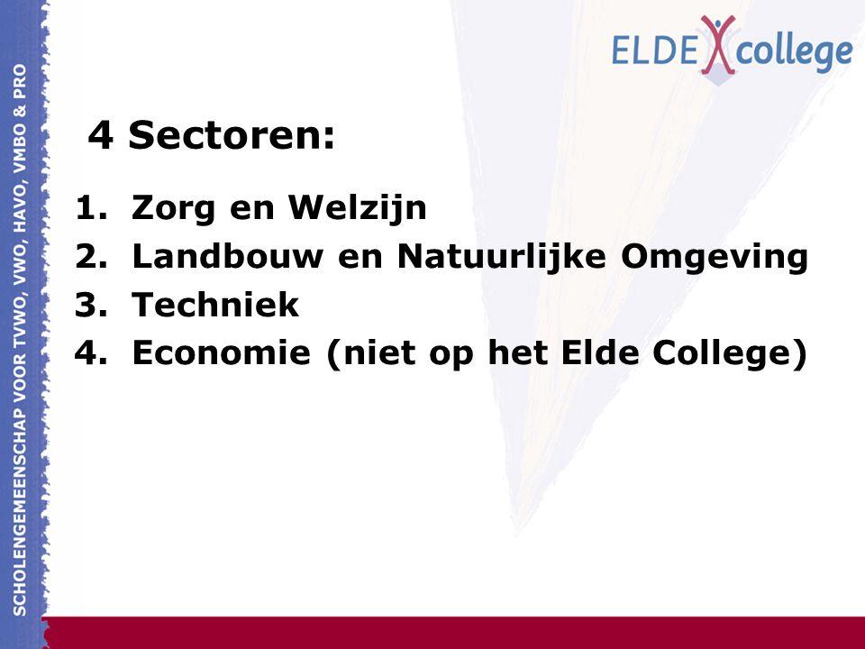 4 Sectoren: 1.Zorg en Welzijn 2.Landbouw en Natuurlijke Omgeving 3.Techniek 4.Economie (niet op het Elde College)