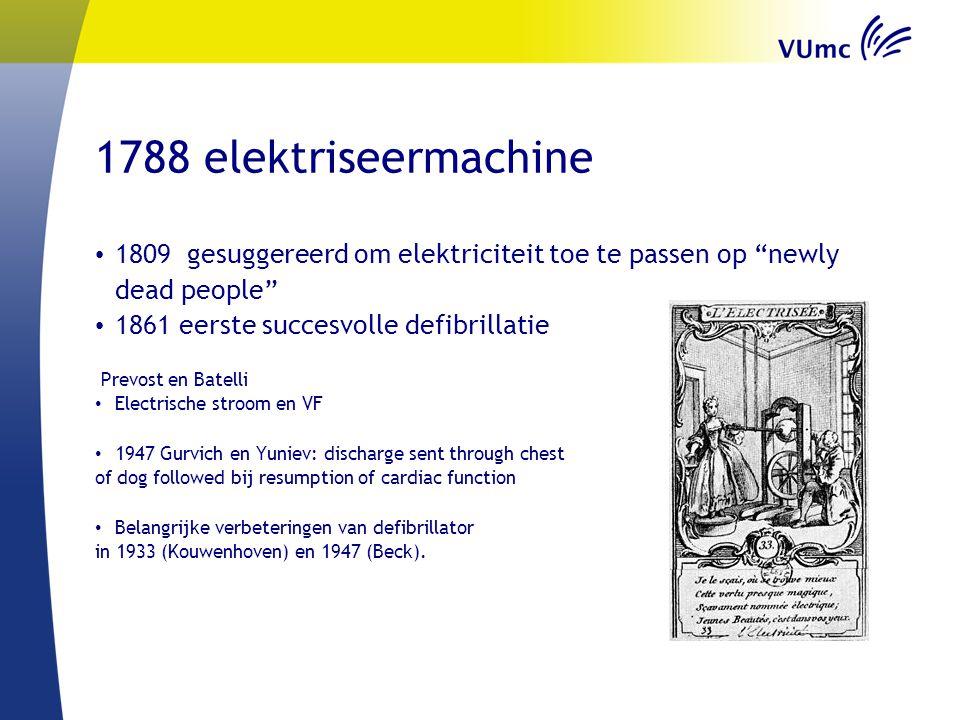 "1788 elektriseermachine 1809 gesuggereerd om elektriciteit toe te passen op ""newly dead people"" 1861 eerste succesvolle defibrillatie Prevost en Batel"