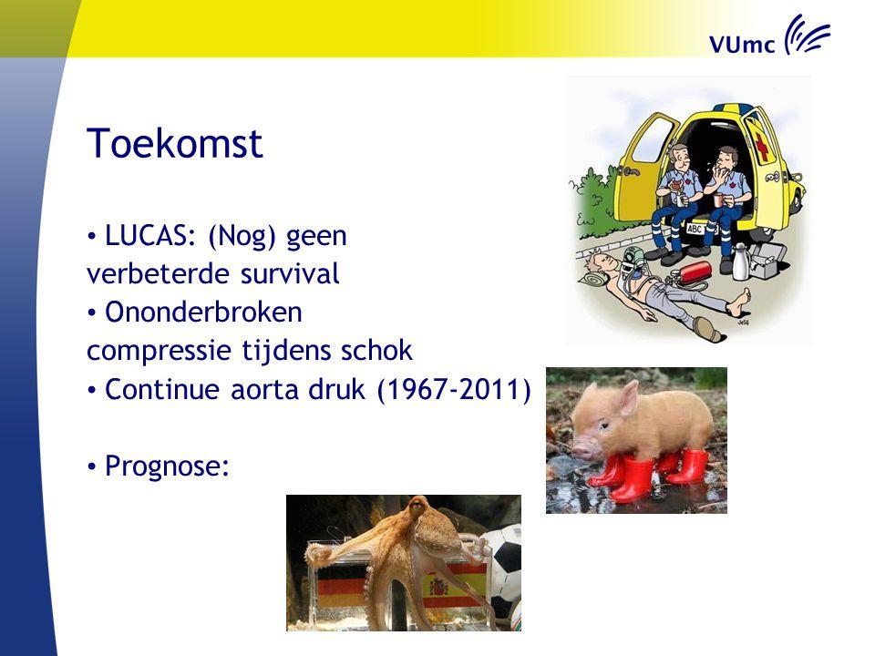 Toekomst LUCAS: (Nog) geen verbeterde survival Ononderbroken compressie tijdens schok Continue aorta druk (1967-2011) Prognose: