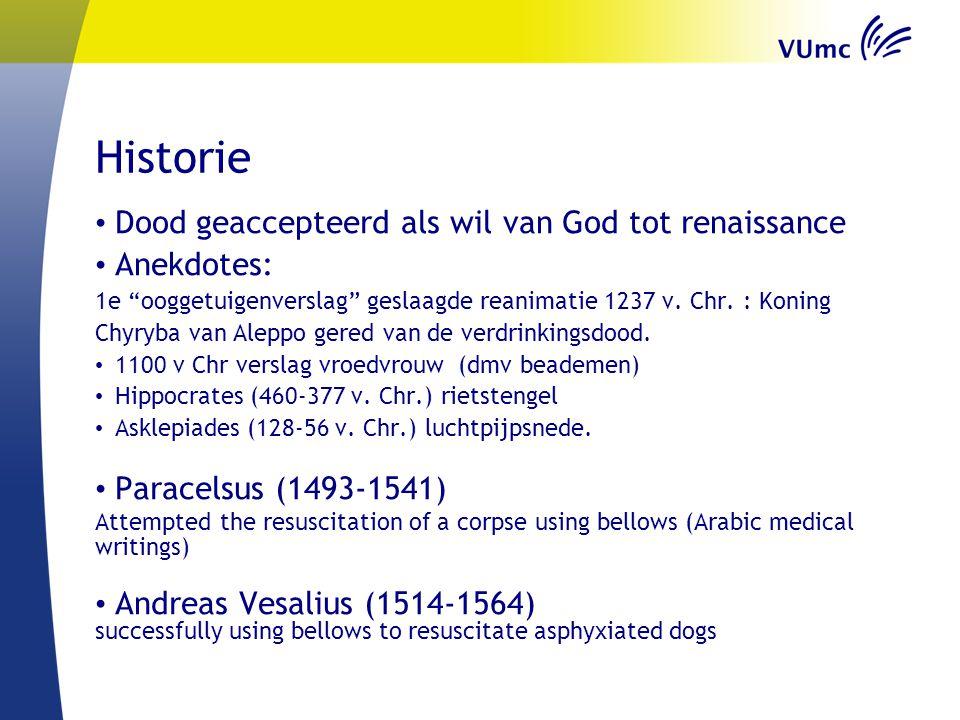 """Historie Dood geaccepteerd als wil van God tot renaissance Anekdotes: 1e """"ooggetuigenverslag"""" geslaagde reanimatie 1237 v. Chr. : Koning Chyryba van A"""