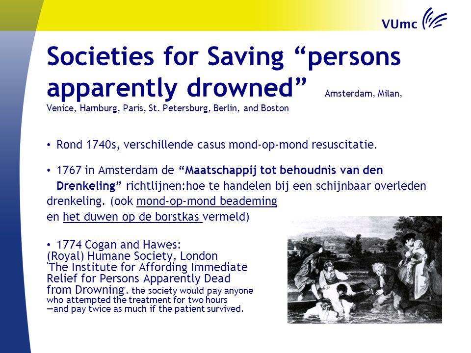 "Societies for Saving ""persons apparently drowned"" Amsterdam, Milan, Venice, Hamburg, Paris, St. Petersburg, Berlin, and Boston Rond 1740s, verschillen"