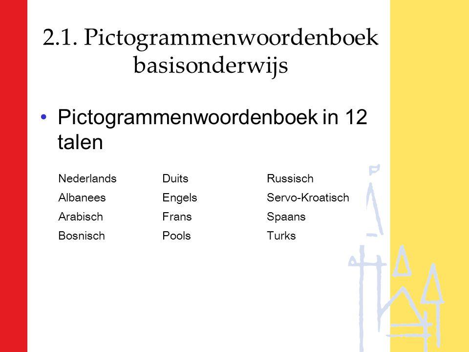 2.1. Pictogrammenwoordenboek basisonderwijs Pictogrammenwoordenboek in 12 talen NederlandsDuitsRussisch AlbaneesEngelsServo-Kroatisch ArabischFransSpa