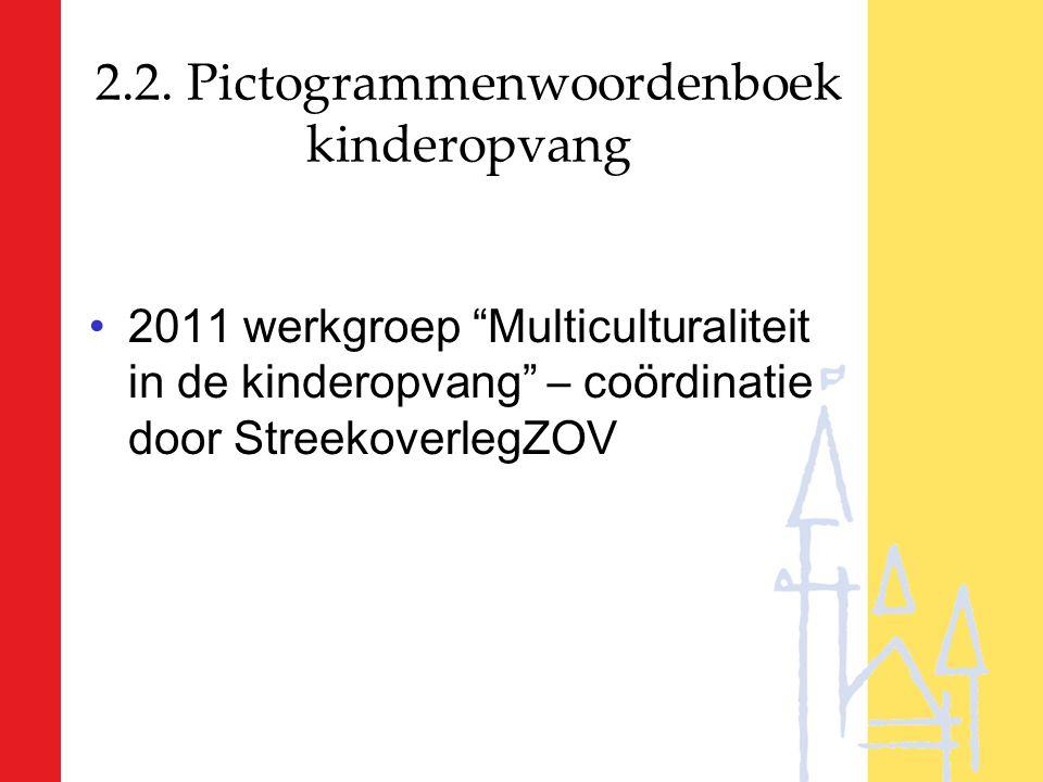 """2.2. Pictogrammenwoordenboek kinderopvang 2011 werkgroep """"Multiculturaliteit in de kinderopvang"""" – coördinatie door StreekoverlegZOV"""