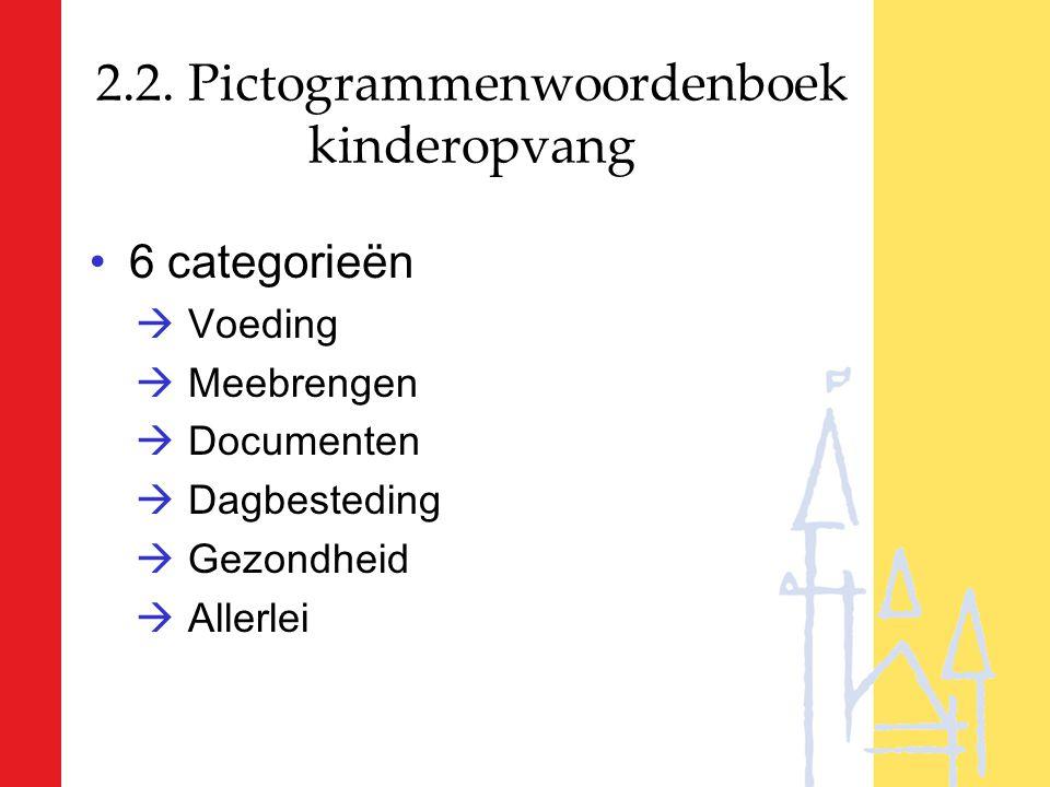 2.2. Pictogrammenwoordenboek kinderopvang 6 categorieën  Voeding  Meebrengen  Documenten  Dagbesteding  Gezondheid  Allerlei