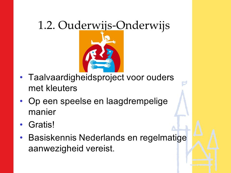 1.2. Ouderwijs-Onderwijs Taalvaardigheidsproject voor ouders met kleuters Op een speelse en laagdrempelige manier Gratis! Basiskennis Nederlands en re