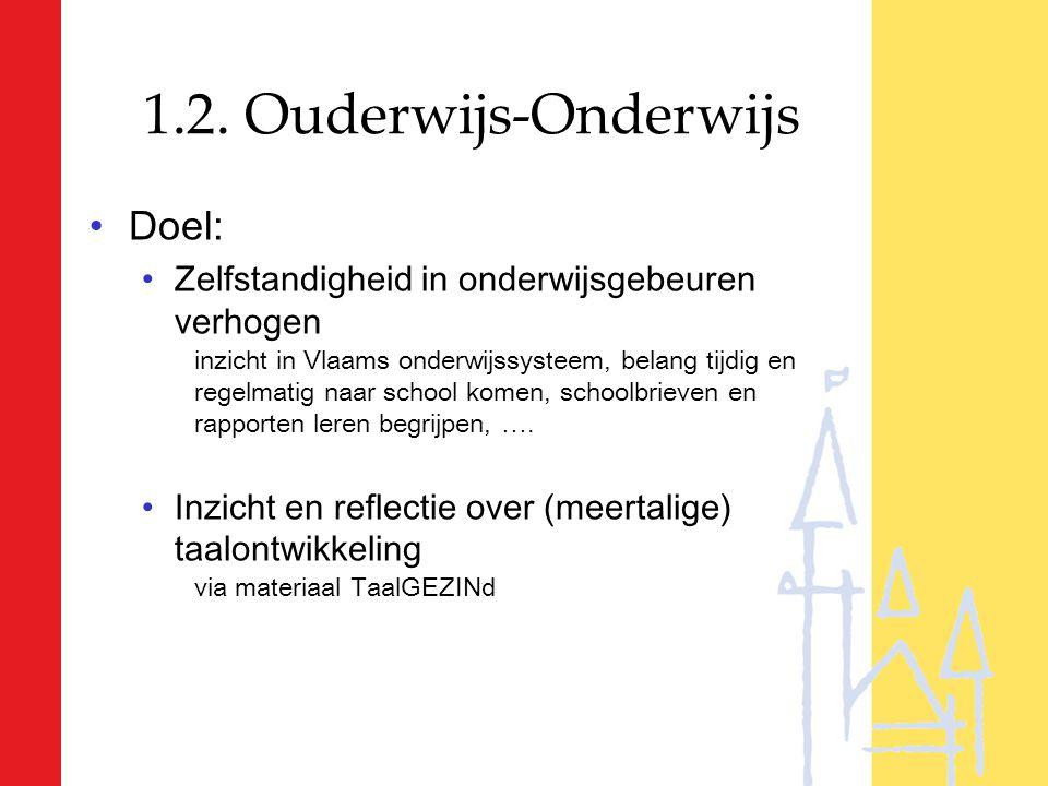 1.2. Ouderwijs-Onderwijs Doel: Zelfstandigheid in onderwijsgebeuren verhogen inzicht in Vlaams onderwijssysteem, belang tijdig en regelmatig naar scho