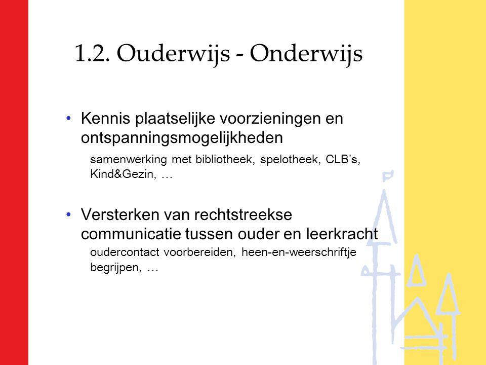 1.2. Ouderwijs - Onderwijs Kennis plaatselijke voorzieningen en ontspanningsmogelijkheden samenwerking met bibliotheek, spelotheek, CLB's, Kind&Gezin,
