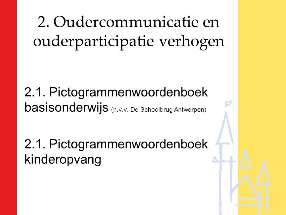 2. Oudercommunicatie en ouderparticipatie verhogen 2.1. Pictogrammenwoordenboek basisonderwijs (n.v.v. De Schoolbrug Antwerpen) 2.1. Pictogrammenwoord
