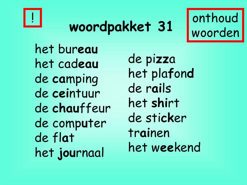 woordpakket 31 het bureau het cadeau de camping de ceintuur de chauffeur de computer de flat het journaal !onthoud woorden de pizza het plafond de rai