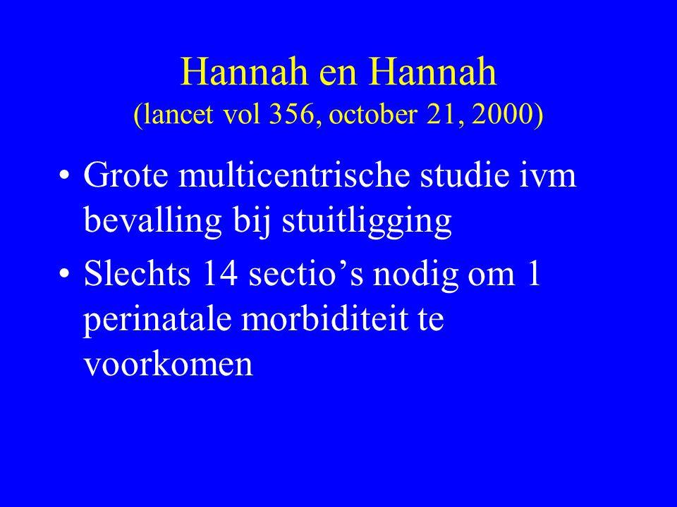 Hannah en Hannah (lancet vol 356, october 21, 2000) Grote multicentrische studie ivm bevalling bij stuitligging Slechts 14 sectio's nodig om 1 perinat