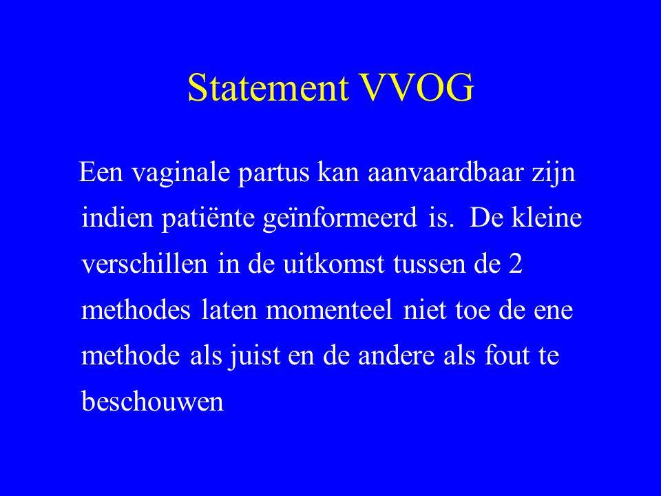 Statement VVOG Een vaginale partus kan aanvaardbaar zijn indien patiënte geïnformeerd is. De kleine verschillen in de uitkomst tussen de 2 methodes la