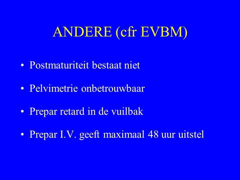 ANDERE (cfr EVBM) Postmaturiteit bestaat niet Pelvimetrie onbetrouwbaar Prepar retard in de vuilbak Prepar I.V. geeft maximaal 48 uur uitstel