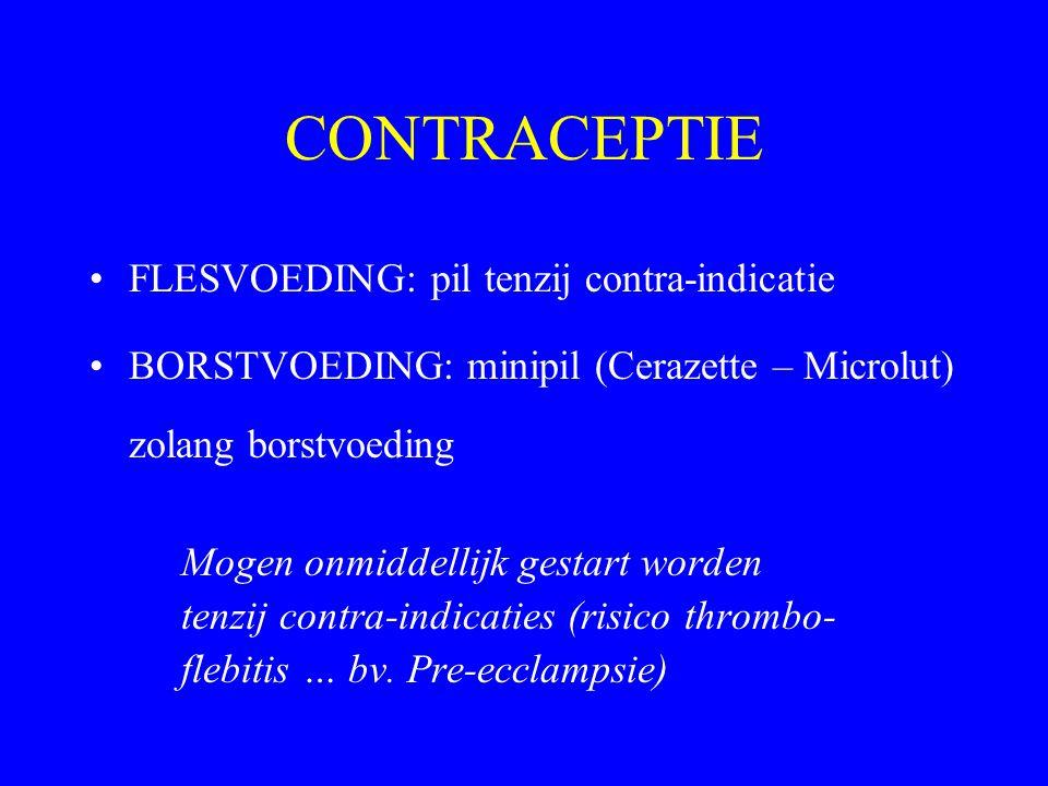 CONTRACEPTIE FLESVOEDING: pil tenzij contra-indicatie BORSTVOEDING: minipil (Cerazette – Microlut) zolang borstvoeding Mogen onmiddellijk gestart word