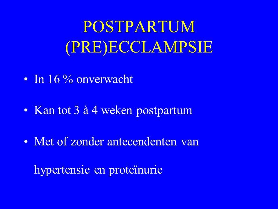 POSTPARTUM (PRE)ECCLAMPSIE In 16 % onverwacht Kan tot 3 à 4 weken postpartum Met of zonder antecendenten van hypertensie en proteïnurie